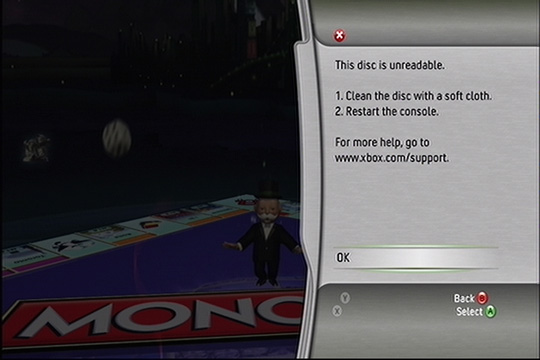 Monopoly Xbox 360 disc unreadable