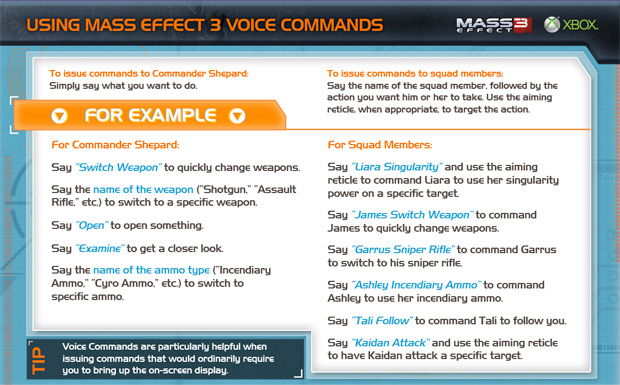 Mass Effect 3 voice commands