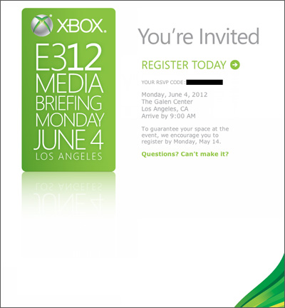 E3 Microsoft Press conference invitation