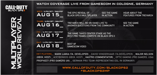 Black Ops 2 Multiplayer schedule Gamescom 2012
