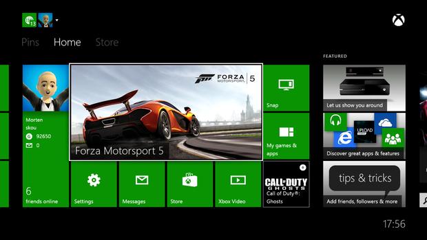 Et billede af Xbox One dashboardet som der så ud i 2013