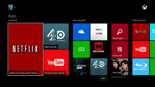 Billede der viser hvilke Apps du kan hente på Xbox One