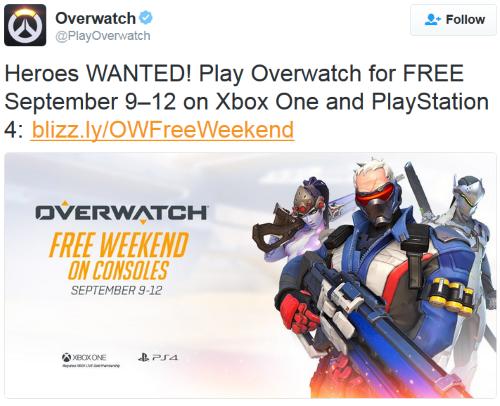 overwatch weekend