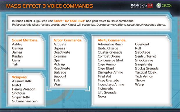 Mass Effect 3 voice commands 2